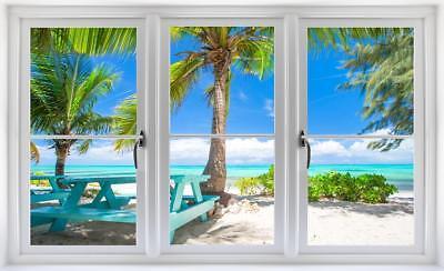 Tropical Beach Day 3d Window Wall Decal Sticker Mural