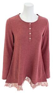LOGO-by-Lori-Goldstein-Henley-Waffle-Knit-Top-Tunic-w-Lace-Hem