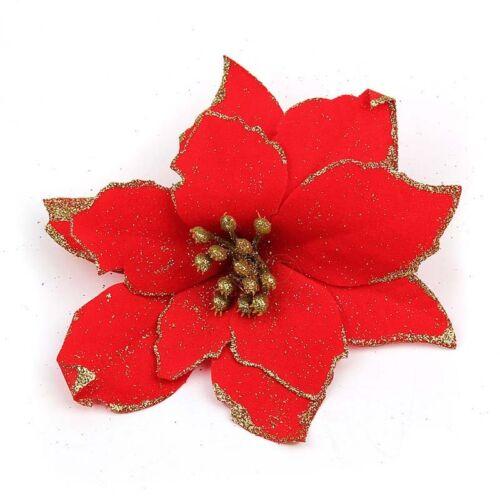 5 Colors Sparkling Flowers Pattern Christmas Tree Decor Floral Ornaments Festive