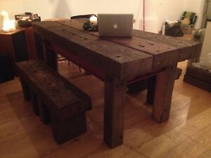 Image Is Loading Rustic Handmade Railway Sleeper Dining Table And Matching