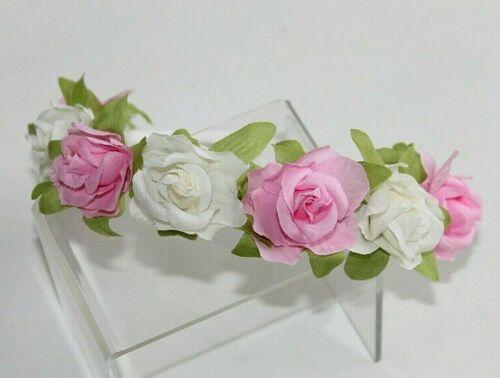 Flower Girl Pink /& White Flower Hair Band Headband Bridesmaid