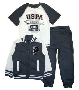 US Polo Assn Boys Fleece Vest 3pc Pant Set Size 2T 3T 4T 4 5 6 7