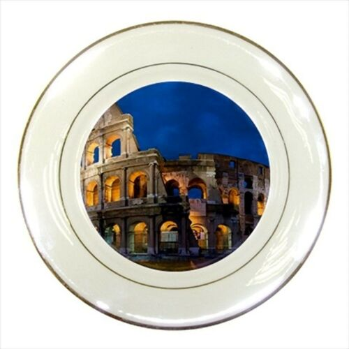 Colosseum Rome Italy Porcelain Plate w/ Display Stand