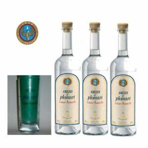 Ouzo-Plomari-aus-Lesvos-3x-700ml-Beigabe-1-Longdrinkglas