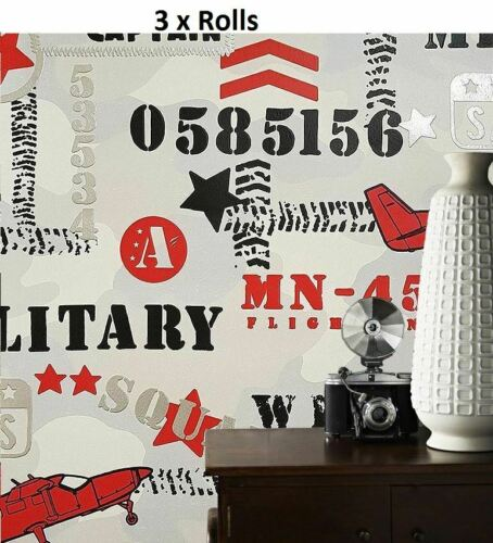 3 x Garçons avion militaire papier peint gris enfant argent métallisé noir rouge