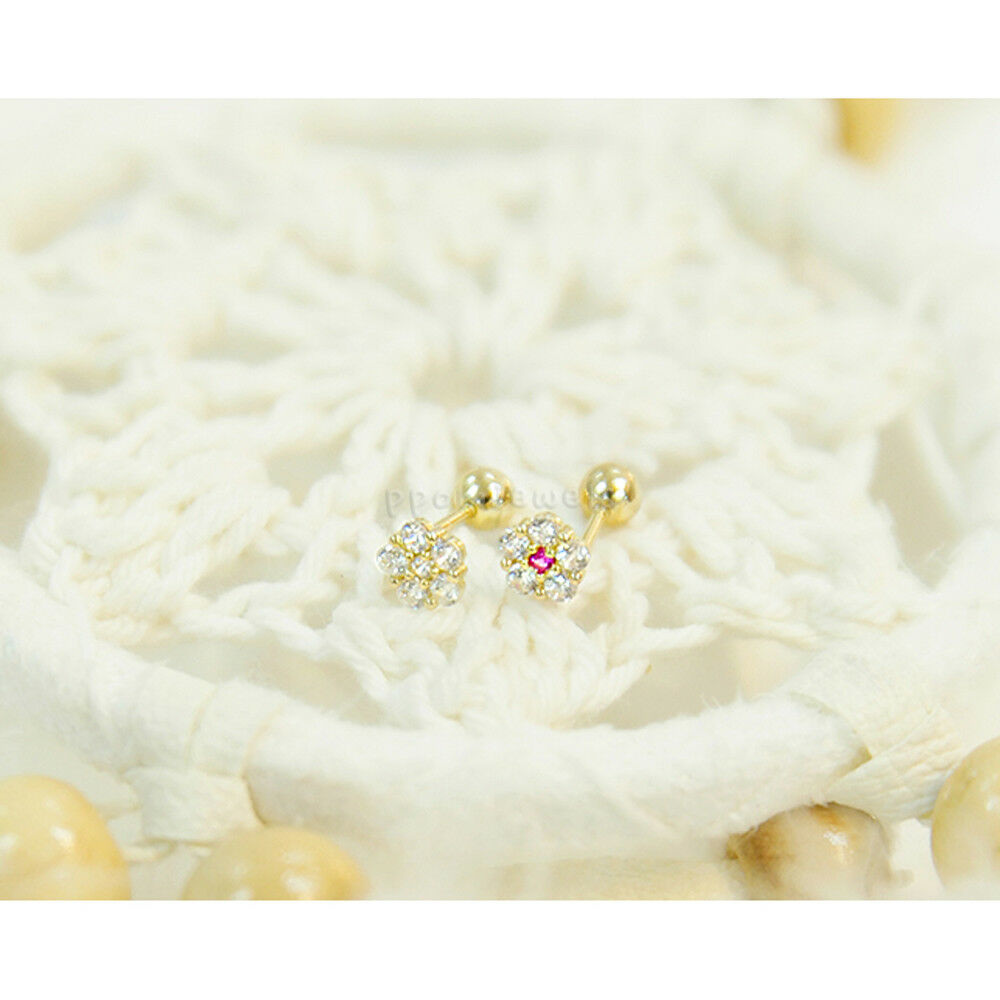 14K gold Stud Ear Piercing Tiny Flower CZ Cartilage Helix Earring Body Jewelry