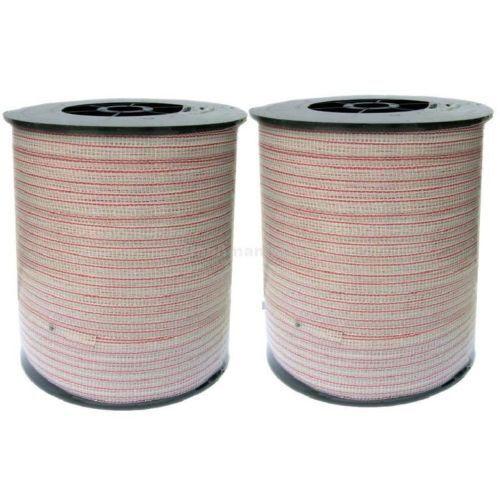 1000 m Weidezaunband 10 mm,3 Niro weiss-rot,für lange Strecken 1 Kupferleiter