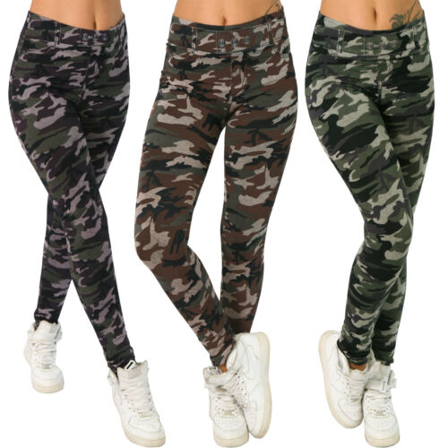 High Waist WaDamen Thermo Leggings Treggings Stretch Sport Laufhose Camouflage