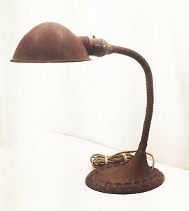 Vtg-antique-deco-nouveau-goose-neck-desk-table-light-ornate-cast-iron-base