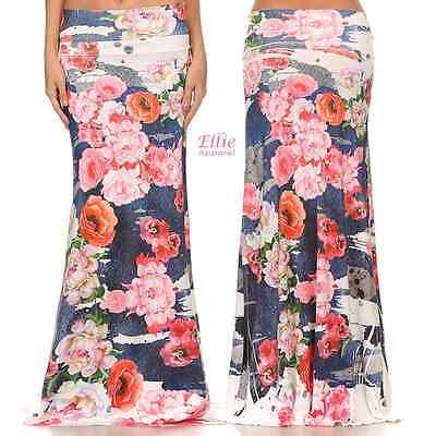 Women/'s LONG SKIRT Floral Pink Brush high waist maxi S//M//L//XL//1XL//2XL//3XL