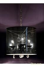 DUSX Vintage Silver & Clear Crystal Glass 3 Arm Chandelier Light With Shade
