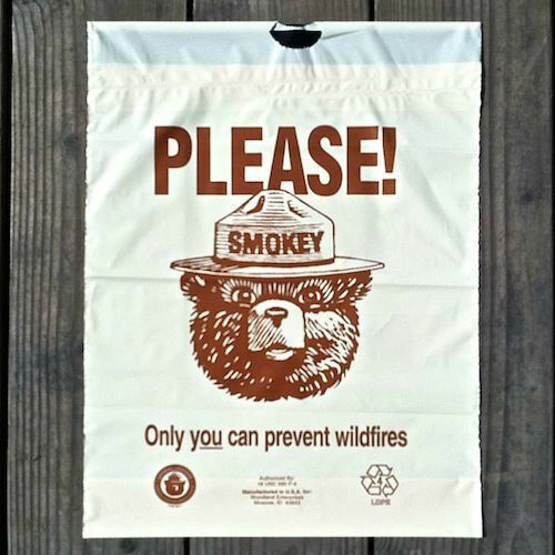 2 Original 1970s SMOKEY THE BEAR Litter Bag Plastic ONLY YOU CAN PREVENT Fires