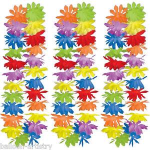 50-PACK-Tropical-Summer-Multicolour-Hawaiian-42-034-Flower-Lei-Fancy-Dress-Garland