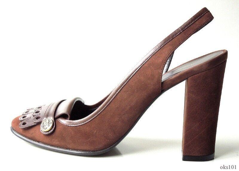 New  530 MARC JACOBS brown suede slingbacks heels shoes  37.5 US 7.5