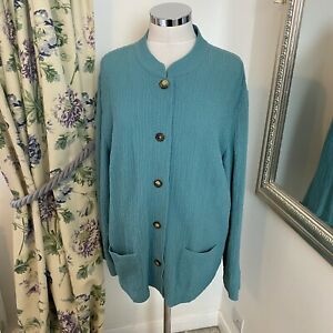 Orvis XL 16 18 green light weight button down causal Rayon blend smock jacket