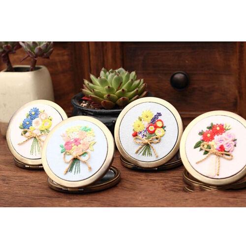 DIY Flower Mirror Embroidery kits Makeup Mirror Needlework Handmade Swing Art