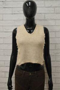 Maglione-JUST-CAVALLI-Donna-Taglia-42-Pullover-Sweater-Smanicato-Woman-Seta-Lana