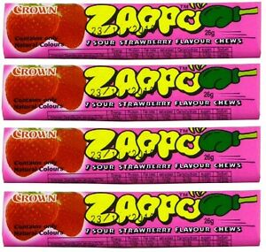 Bulk-Lot-20-x-Zappo-Chews-Strawberry-26g-Crown-Sour-Candy-Buffet-Lollies-Sweets