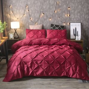 Solid-Diamond-Pintuck-Duvet-Cover-Set-Twin-Queen-King-Size-Bedding-Set-Soft-US