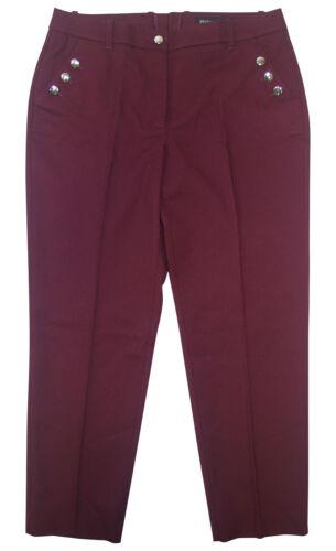 46 Bordeaux Elegante Business Pantaloni Effetto Lana 7//8 Pantaloni Patrizia Dini Tg