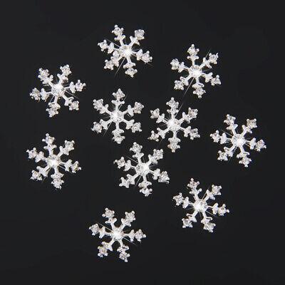 40Pcs Crystal Snowflake Buttons Flatback Embellishments DIY Arts Crafts 14mm
