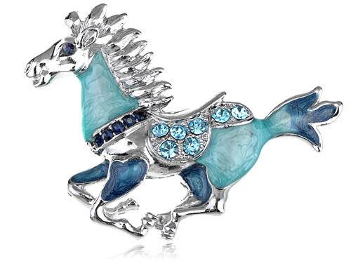 Fahion Blue Enamel Gallop Horse Animal Crystal Rhinestone fashion Brooch pin