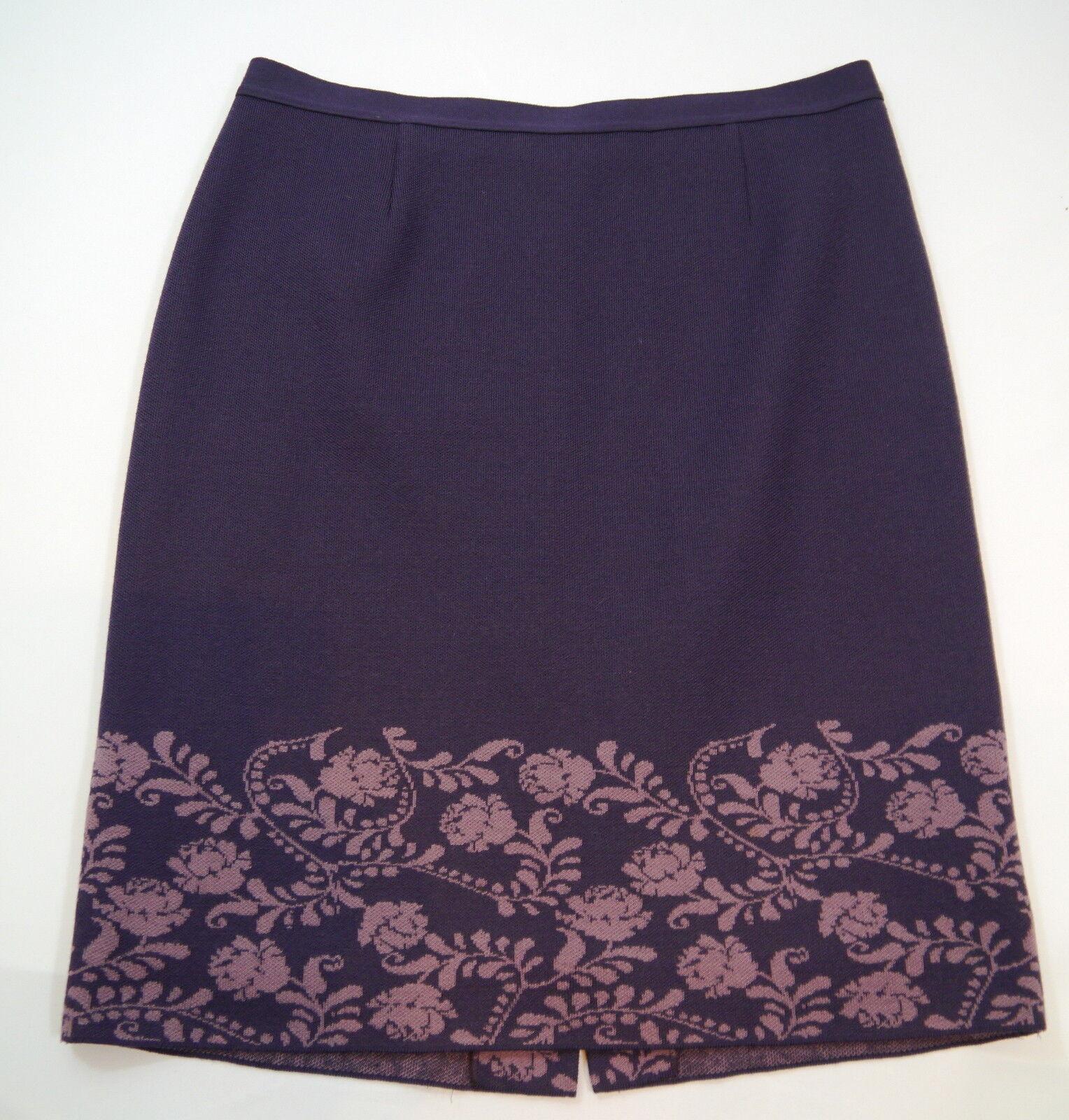 damen Stretchrock  LUISA SPAGNOLI Wolle lila Bordüre Ornamente Gr.L WIE NEU