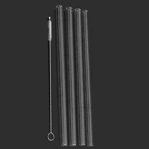 4x-Reusable-Clear-Glass-Water-Drinking-Straw-with-Brush-Wedding-Birthday-Party-l