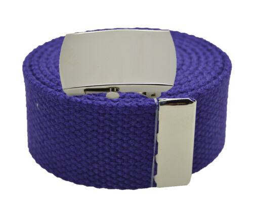 """Canvas Military Web Belt /& BIG /""""Plain/"""" Silver Buckle 48 54 60 72 Inches"""