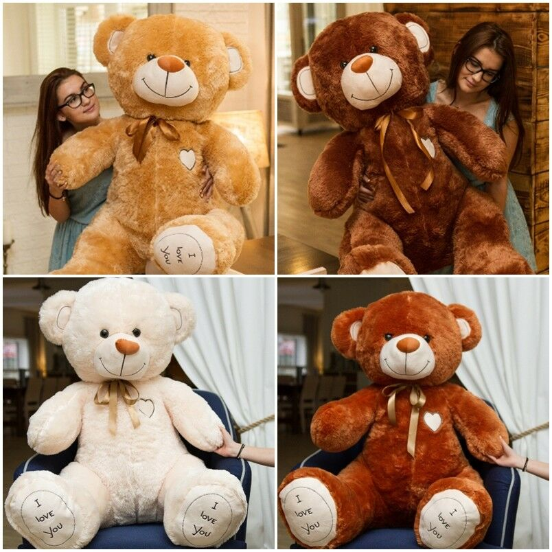 160 cm   GIANT LARGE TEDDY BEAR huge soft plush toy GREAT GIFT beige I LOVE YOU