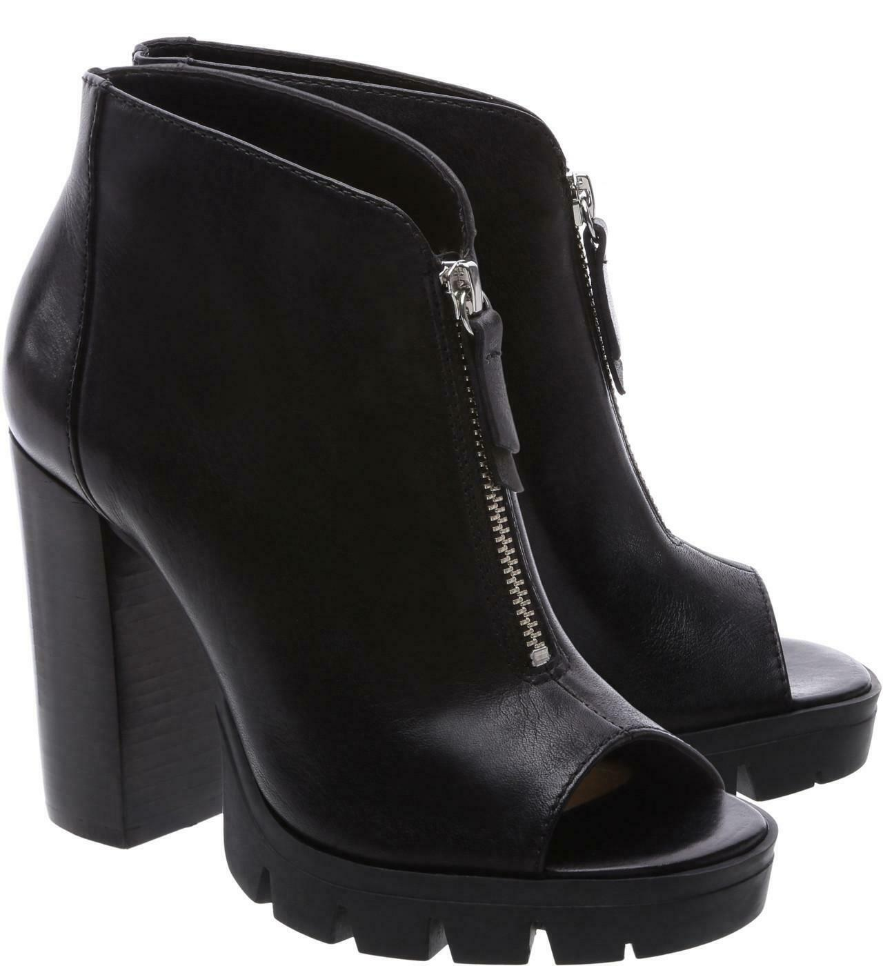 Schutz Womens Black Juliette High heel peep-toe PLatform bootie treaded Lug sole