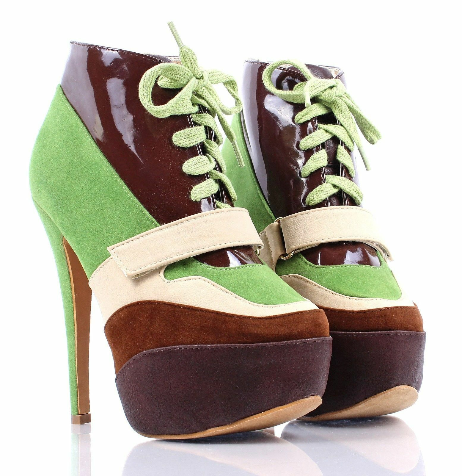 Green Multi Lace Up Pretty Booties Womens Heels Pumps Ankle Boots Size 6.5