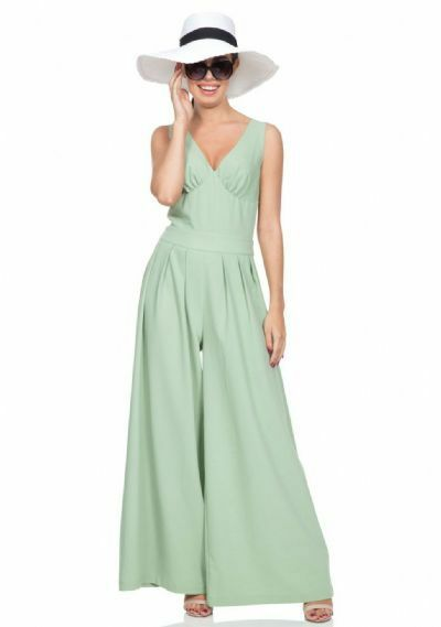 Voodoo Vixen Retro Wide Leg Trouser Sleeveless Mint Mandy Pleated Jumpsuit S-2X