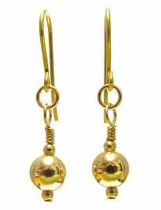 Womens-9ct-Yellow-Gold-Earrings-Dangle-Drops-with-6-mm-9ct-Gold-Ball-Beads