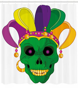 Image Is Loading Mardi Gras Shower Curtain Scary Skull Mask Hat