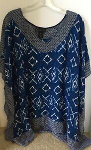 Lane-Bryant-Woman-039-s-Blue-Print-Tunic-Poncho-Women-Top-Blouse-Boho-Size-18-20