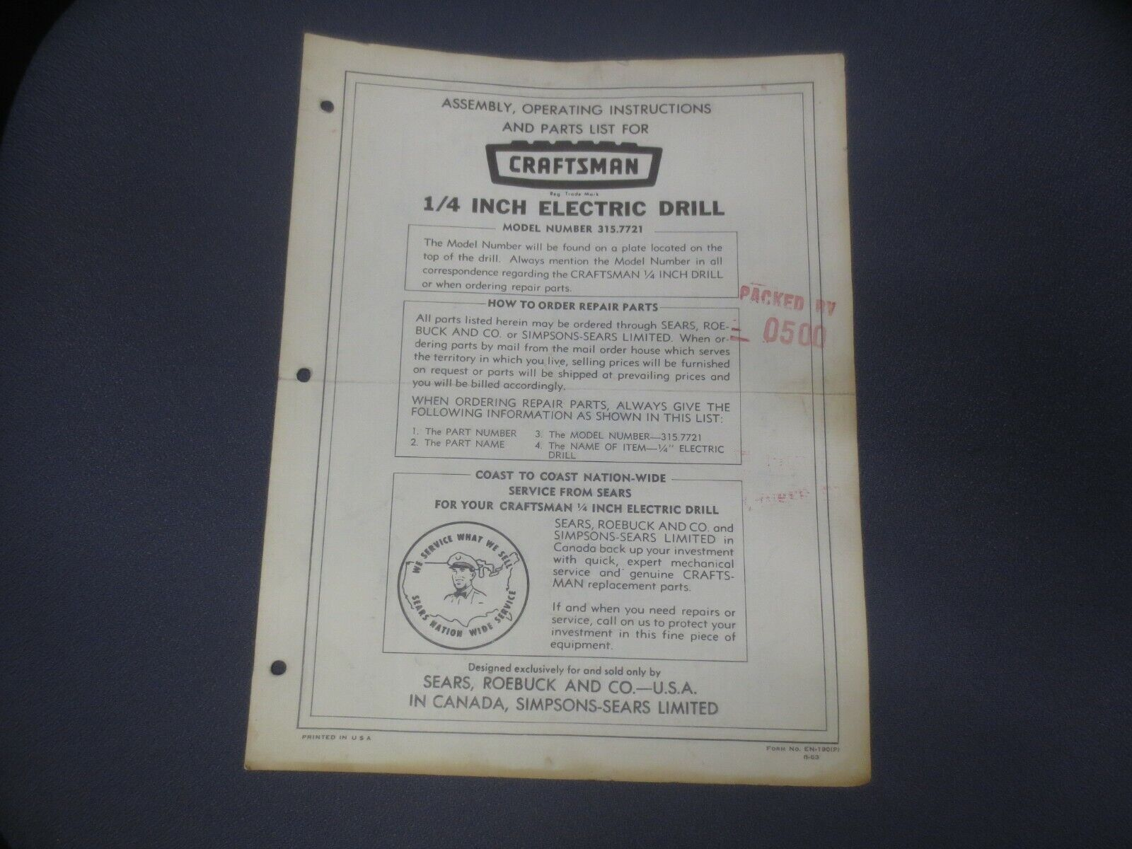 ☆1963 Craftsman Assembly Operating Instructions & Parts List 1/4
