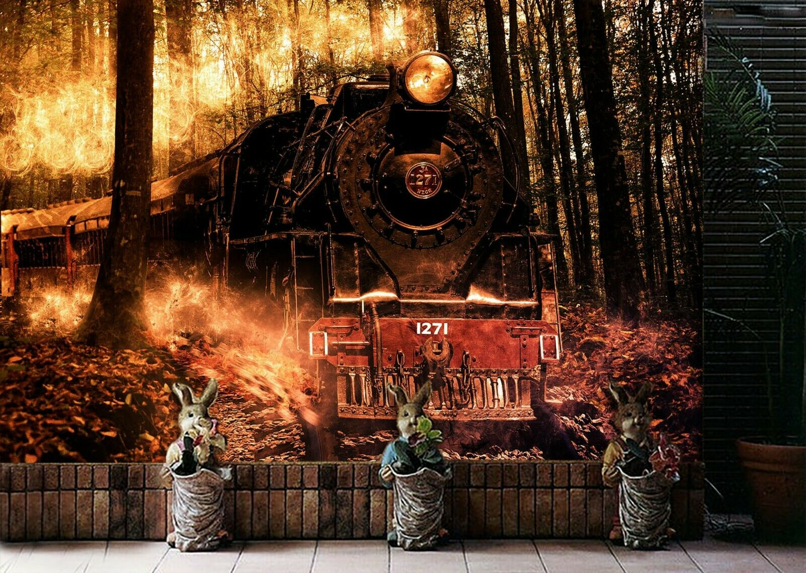 3D Forest Train N821 Transport Wallpaper Mural Self-adhesive Removable Amy