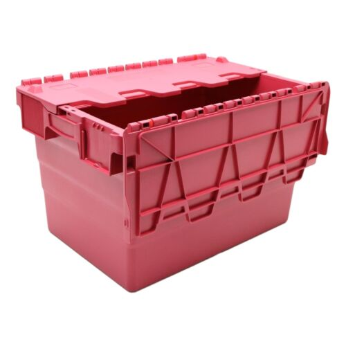 NEW 64 Litre Red Attached Hinged Lid Heavy Duty Strong Plastic Storage Box Boxes