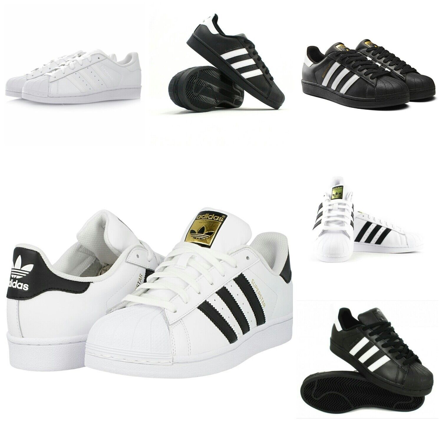 Adidas Superstar Hombres Trainers and Sneakers Zapatos - Negro and Trainers Blanco - c00aed