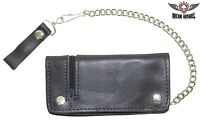 Black Leather Chain Wallet With Zipper - Free Shipping