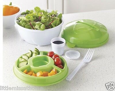 LUNCH BOWL * SNACK SALAD FRUIT CUP DRESSING FORK COMPARTMENT BOX TOPPINGS TRAY