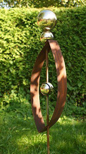 Gartendeko Roststab Ellipse  Skulptur 120 cm  mit 3 Edelstahlkugeln