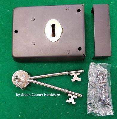 """Black 4/"""" x 3/"""" Victorian Style Rim Deadlock Door 2 Keys"""