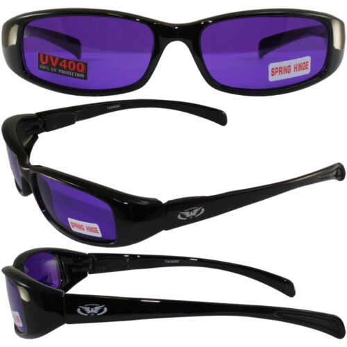 New Attitude Motorcycle Glasses with Purple Lenses and Black Frame with Flames