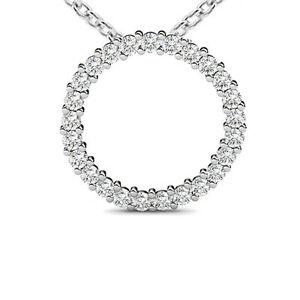 100 ct ladies round cut diamond circle of love pendant necklace image is loading 1 00 ct ladies round cut diamond circle aloadofball Images