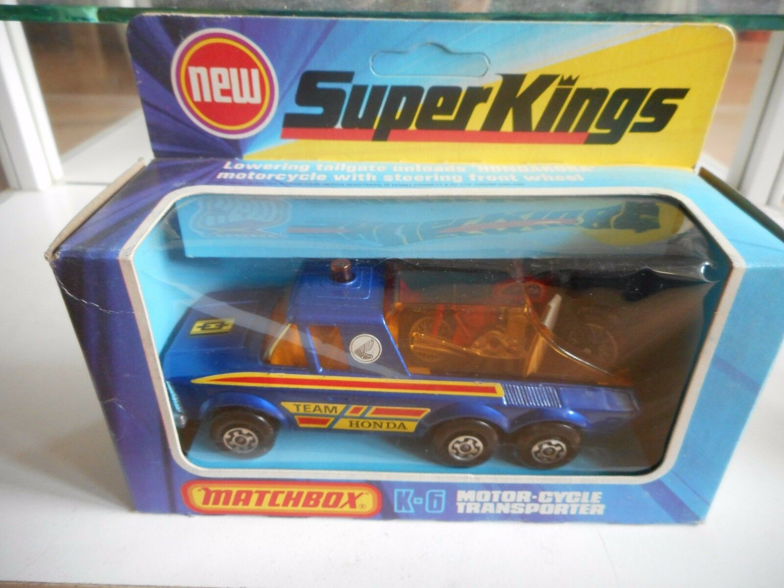 nuevo listado Matchbox súper Kings Motor-Cycle Transporter Team Honda in in in azul in Box  grandes ofertas