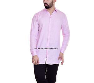 Herren Formell Business Slim Fit Hemd Luxus Freizeit Lang Ärmel Rosa Solid Hemd