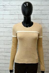 Maglione-TOMMY-HILFIGER-Donna-Taglia-XS-Felpa-Pullover-Sweater-Cotone-Beige