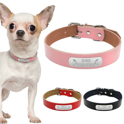0de180acf158 Leather Personalized Custom Dog Collars Pet Name Plate ID Collar Free  Engraved